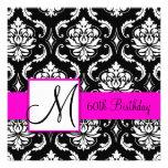 Black Damask Pink Monogram 60th Birthday Invite