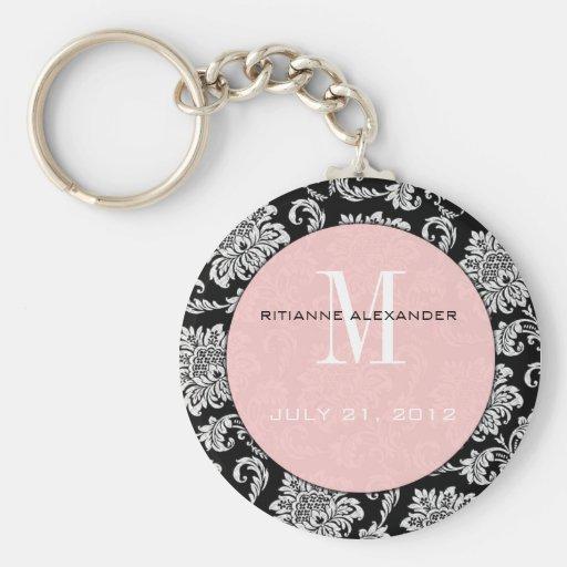Black Damask Pink Monogram Wedding Keychain