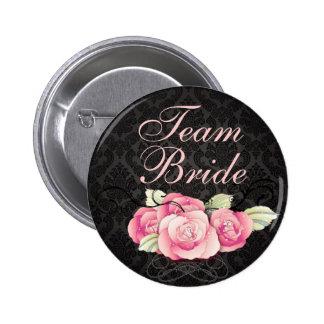 black damask pink roses vintage wedding 6 cm round badge
