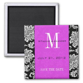 Black Damask Plum Monogram Save The Date Magnet