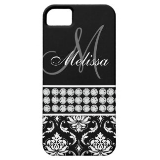 Black Damask Printed Diamonds iPhone 5 Case-Mate