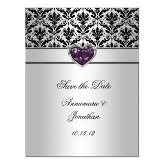 Black Damask Purple Jewel Heart Silver Save The Da Postcard