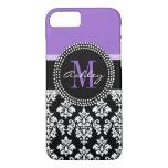 Black Damask Purple Monogram Pattern iPhone 7 Case