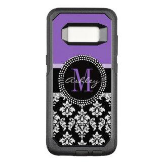 Black Damask Purple Monogram Pattern OtterBox Commuter Samsung Galaxy S8 Case