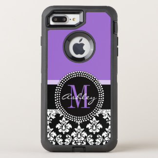 Black Damask Purple Monogram Pattern OtterBox Defender iPhone 8 Plus/7 Plus Case