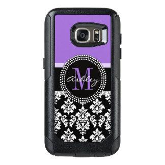 Black Damask Purple Monogram Pattern OtterBox Samsung Galaxy S7 Case