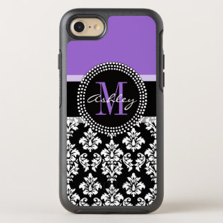 Black Damask Purple Monogram Pattern OtterBox Symmetry iPhone 8/7 Case