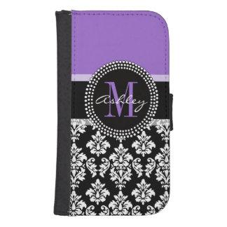 Black Damask Purple Monogram Pattern Samsung S4 Wallet Case