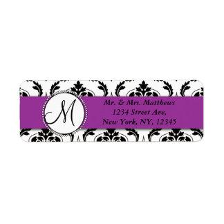 Black Damask Purple Monogram Return Address Return Address Label