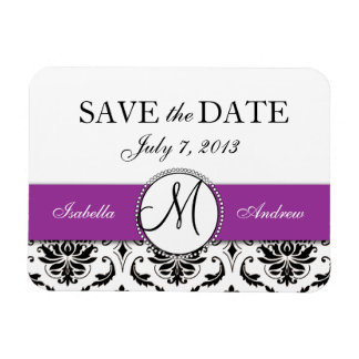 Black Damask Purple Wedding Save the Date Magnet