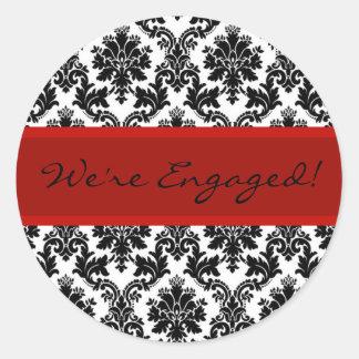 Black Damask & Red Envelope Seal Favor Sticker