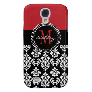 Black Damask Red Initial Name Galaxy S4 Case