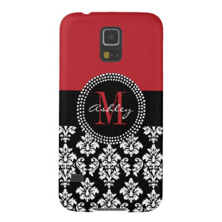 Black Damask Red Initial Name Galaxy S5 Case