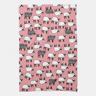 Black Damask Sheep Hand Towels