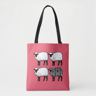 Black Damask Sheep on Pink Tote Bag