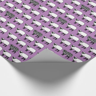 Black Damask Sheep on Purple Wrapping Paper