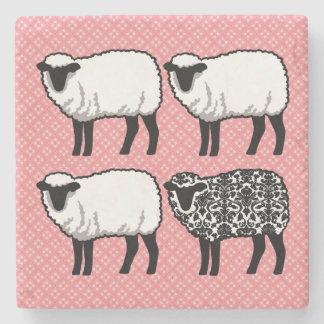 Black Damask Sheep Stone Beverage Coaster