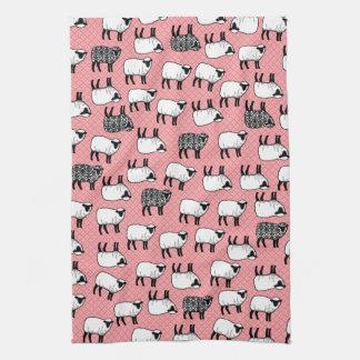 Black Damask Sheep Tea Towel