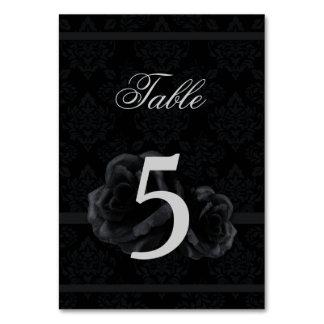 Black damask silk rose wedding table number cards