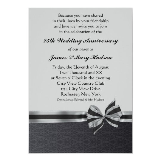 Black Damask Silver 25th Anniversary Party Card