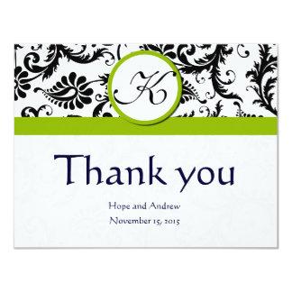 Black Damask Swirl Green Wedding Thank You Cards 11 Cm X 14 Cm Invitation Card