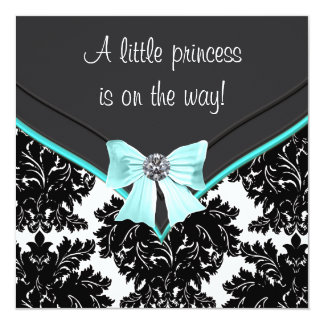 Black Damask Teal Blue Bow Princess Baby Shower 13 Cm X 13 Cm Square Invitation Card