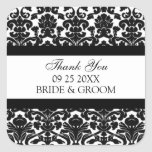 Black Damask Thank You Wedding Favour Tags Square Stickers