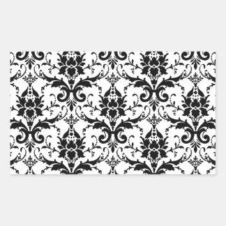 Black Damask Tile Pattern Rectangular Sticker