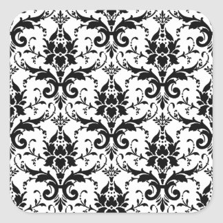 Black Damask Tile Pattern Square Sticker