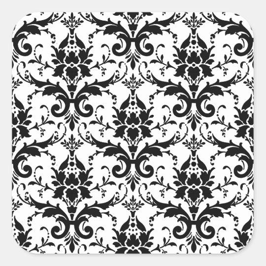 Black Damask Tile Pattern Square Sticker