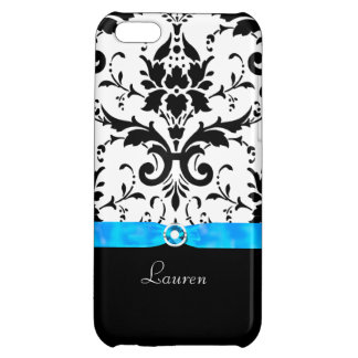 Black Damask Turquoise Jewel iPhone 5C Cover
