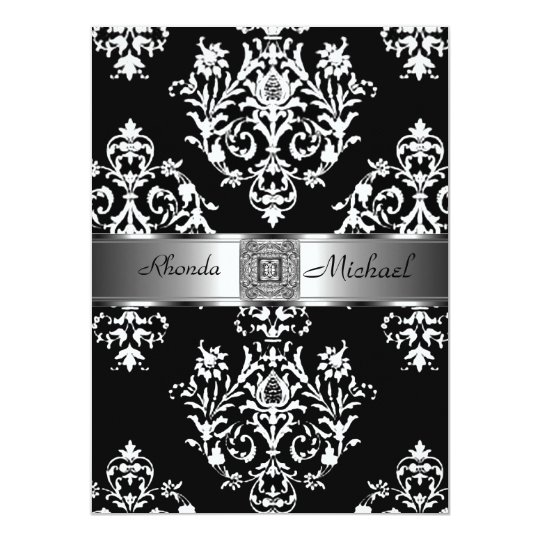 Black Damask Wedding Invitation Damask