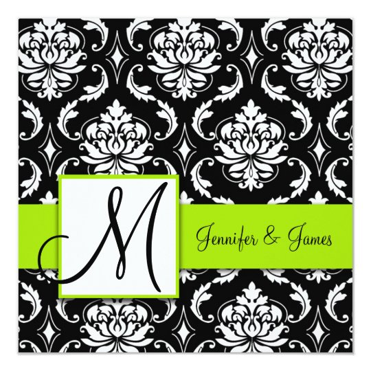 Black Damask Wedding Invitation | Lime Green
