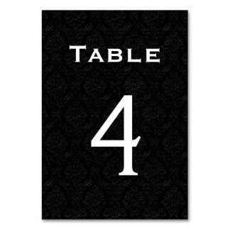 Black  Damask Wedding Table Number 4 Table Cards