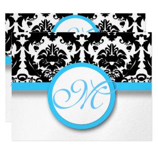 Black Damask  With Bright Aqua Blue Trim Wedding 11 Cm X 14 Cm Invitation Card