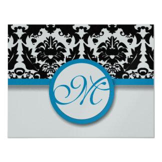 Black Damask  With Deep Aqua Blue Trim Wedding 11 Cm X 14 Cm Invitation Card