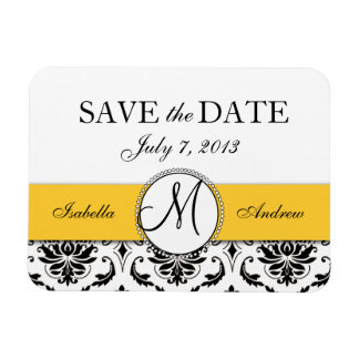 Black Damask Yellow Wedding Save the Date Magnet