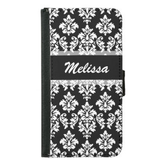 Black Damask Your Name Samsung Galaxy S5 Wallet Case