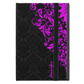 Black  Damasks & Hot Pink Floral Lace Cover For iPad Mini