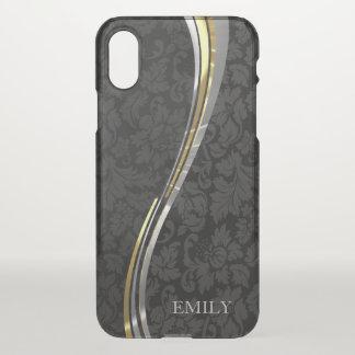 Black Damasks Silver & Gold Stripes iPhone X Case
