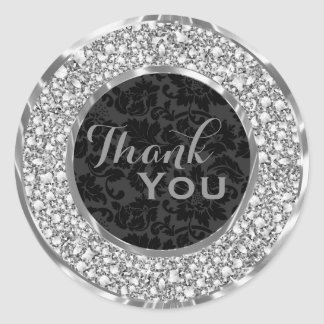 Black Damasks Sparkling Diamonds Glitter Classic Round Sticker