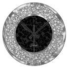 Black Damasks Sparkling Faux Diamonds Glitter Large Clock