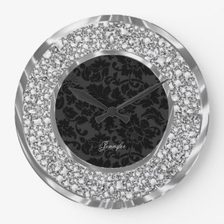 Black Damasks Sparkling Faux Diamonds Glitter Wallclocks