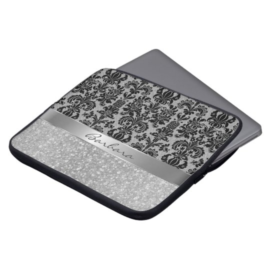 Black Damasks White Diamond Pattern Glitter Laptop Sleeve