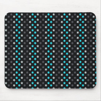 Black, Dark Gray, Aqua Turquoise Stars Mouse Pad