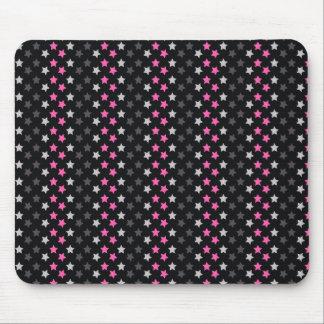 Black, Dark Gray, Light Pink Stars Mouse Pad