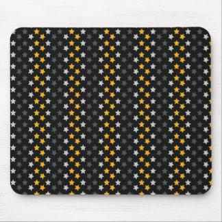 Black, Dark Gray, Orange Stars Mouse Pad