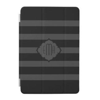 Black & Dark Gray Stripes Geometric Pattern iPad Mini Cover