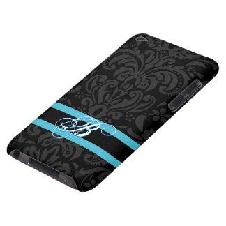Black & Dark Gray Vintage Floral Damasks Pattern Barely There iPod Case