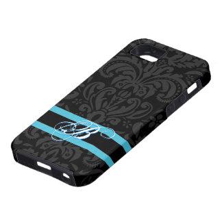 Black Dark Gray Vintage Floral Damasks Pattern iPhone 5 Case